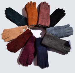 Wholesale Dark Purple Gloves - Leather gloves Female winter Sheepskin gloves True sheepskin finger outdoor thermal gloves real leather lovers girls Genuine leather