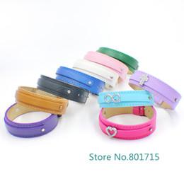 Wholesale 8mm Cartoons - 50pcs lot PU Leather wristband WB036 Copy Leather 210mm length fit 8mm slide charm letters hot sale DIY Accessory bracelet