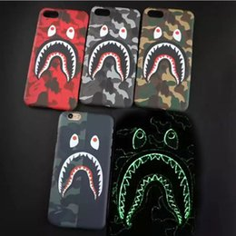 Wholesale Iphone Case Men - Camouflage Ape Man Shark Case For iphone 8 Hard Back Phone Cases Luminous Glow Cover For iphone 7 6 6S Plus iphone X