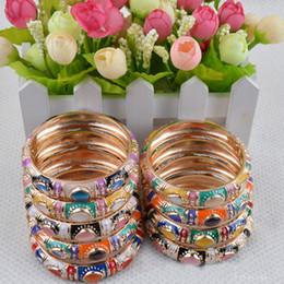 Wholesale Ethnic Fashion Jewelry China - hot sale new Personalized Ethnic Bangle Bracelets Cheap China Cloisonne Fashion Bracelet Jewelry 10pcs mixed color