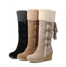 Wholesale Padded Cowboy Boots - Winter Fashion Scrub Snow Boots Wedges Knee-high Slip-resistant Boots Thermal Female Cotton-padded Shoes Warm Plush Shoes