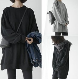 Wholesale Baggy Hoodies - Harajuku Fashion Hoodie Oversized Solid Cotton Black Sweatshirts Women Baggy Loose Drop Shoulder Pullovers Female Spring Autumn