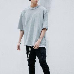 magliette oversize all'ingrosso Sconti Wholesale- Uomo streetwear Kanye WEST stile abbigliamento uomo T shirt Bianco / grigio / nero oversize tee homme hip hop mezza manica T shirt