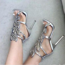 Wholesale Patent Ladies Shoes - {Original box+bag}Silver Metallic Winged Gladiator Women Sandals 2017 High Heels Gold Leaf Summer Shoes Woman Sandalias Ladies Shoes Pumps