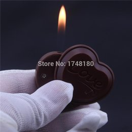 Wholesale Cute Lighters - Wholesale- Originality Creative Gas Lighter Inflatable flame portable windproof refillable smoking cigarette lighter Chocolates Cute Gifts