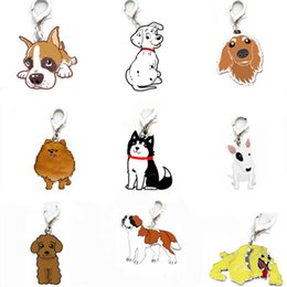 Wholesale Pomeranian Dogs - Cartoon Pet Dog Cat Tag ID Pet Pendant Bull Terrier Dalmatian The Boxer Cocker Pomeranian Fit Pet Collar Key Chain 15 Types Dog 100PCS LOT
