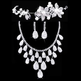 2019 conjuntos de joyería nupcial floral Twinkling Floral Bridal Crown Necklace Earrings Set Tiaras Bridal Jewelry Accessories Wedding Party Sets S002 Envío Gratis rebajas conjuntos de joyería nupcial floral