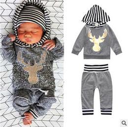 Wholesale Wholesale Animal Print Sweatshirts - INS Boys sets fashion toddler kids deer head printed Hooded sweatshirt +stripe pants 2pc clothing sets boy summer clothing T3562