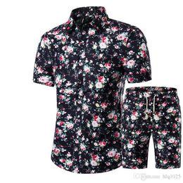 Wholesale hawaiian dress xl - New Summer Men Shirts+Shorts Set Casual Printed Hawaiian Shirt Homme Short Male Printing Dress Suit Sets Plus Size
