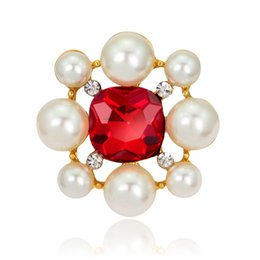 Wholesale Asian Hijab Wholesalers China - Luxury Weddings Red Rhinestone Pearl Flower Jewelry Gold Plated Crystals Accessories Brooches Corsage Hats Scarf Clips Hijab Pins