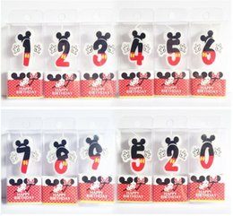 Wholesale Cake Number - Birthday Candle Mickey Candle 0 4 5 6 7 8 9 Anniversary Cake Numbers Age Candle Party Supplies Decoration