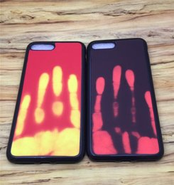 Wholesale backing sensors - Thermosensitive Color change Case Magical PU Fingerprint Back Cover Temperature Sensing Thermal Sensor Heat Shell For Iphone 6 7 plus 7G
