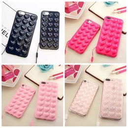 Wholesale Cover Phone Korean Style - Luxury Love Heart Candy Peach Soft TPU Case For iphone X 8 7 Plus 6 6S 6+ Fashion Korean Style Skin Cover Cases 3D Silicone Anti-knock PHONE