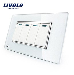 Wholesale Crystal Home Button - LS11-Manufacturer Livolo Luxury White Crystal Glass Panel, 4Gang, 2 Way Push Button Home Wall Switch,VL-C3K4S-81