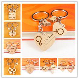 Wholesale Cartoon Handmade Keychain - Lovely Custom Couple Wooden Keychain Personalized Keychain Handmade Polished DIY Rectangular Square Round Heart Shape as Ideal Gift