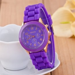 Wholesale Geneva Popular Silicone - wholesale popular geneva silicone rubber jelly candy watches unisex mens womens ladies colorful rose-gold dress quartz watches