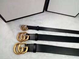 Wholesale Leather White Wide Belt - 2018 Designer High quality cowskin belt double buckle real leather luxury male designer belt for men women size wide 2.0 3.4 3.8 cm