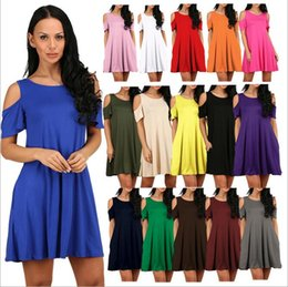Wholesale Cold Dresses - Women's Cold Shoulder Tunic Top T-shirt Swing Dress With Pockets