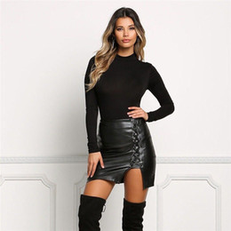 Wholesale Lace Leather Skirts - Black Lace Up PU Leather Skirts 2017 Spring Summer Womens Side Split Pencil Skirts Vintage High Waist Bodycon Mini Skirt Free Shipping