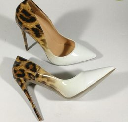 Wholesale Genuine Patent Leather White Leopard Women wedding shoes ultra thin Red Bottom high heels pumps size