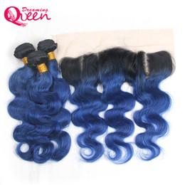 2019 девственная океанская волна 1b Ocean Blue Body Wave Ombre бразильский Виргинские человеческие волосы ткет 3 пучки с 13x4 уха до уха отбеленные узлы кружева фронтальная закрытие скидка девственная океанская волна