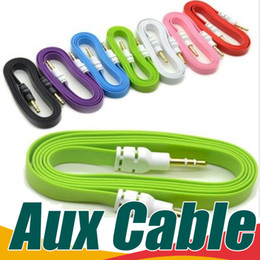 Para iphone 5 ipod ipad mp3 mp4 teléfono 1M 3ft 2M 6ft 3M 10ft 3.5mm Cable de audio Noodle plano Macho a macho Cable de audio auxiliar de automóvil Cables desde fabricantes