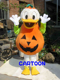 Wholesale White Duck Adult Costume - High-quality Real Pictures Halloween Pumpkin Ducks Mascot Costume Mascot Cartoon Character Costume Adult Size free shipping