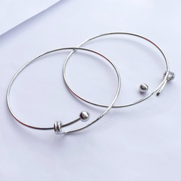 Wholesale Tiny Bracelet Charms - Adjustable Bangle, Ball Of The End Can Be Turned On And DIY With Charms Unscrew Bangle, 1.5mm Fine Tiny Bracelet