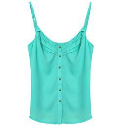 Wholesale Thin Strap Vest - Wholesale-Superior New Fashion Sexy Women Loose Thin Chiffon Spaghetti Strap Vest Blouses Shirts June10