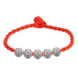 925 sterling silber chinesische perlen online-925 Sterling Silber Schmuck Lose Perlen Spacer Perlen Armband rote Seil Kette chinesischen Segen luky Schmuck