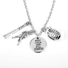 Wholesale Walking Dead Bag - 20pcs The movie Walking Dead Inspired Jewelry keep calm and kill zombies Silver tone Pendant necklace for gift bag part