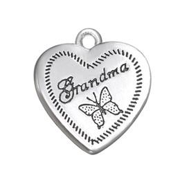 Canada Charme de papillon de forme de coeur plaqué par argent antique de conception populaire pour des bijoux de cadeau de grand-maman Offre