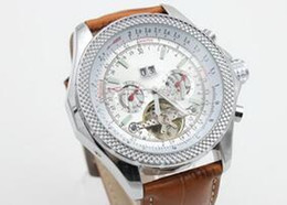 Wholesale Watch Leather Promotion - 2017new brown leather belt white dail date Promotion cheap fashion Mechanics brand men watch stainless steel luxury wristwatch men's Watches