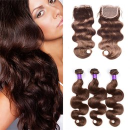 Wholesale Hair Color Chocolate - Free Part Lace Closure With Brown Hair Bundles Color #4 Chocolate Medium Brown Body Wave Human Hair Weaves With 4*4 Top Closure