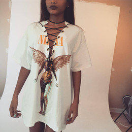 Wholesale Womens Tops Neck Design - Womens TShirt Sexy Lace Up V neck white T-Shirt 2017 New Fashion Punk Rock Design Fashion Animal Print Halloween Top Shirts Womens Long Tops