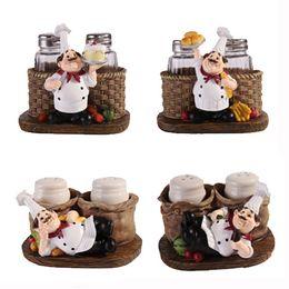 Wholesale Cooking Ornament - Minimalist Modern Creative Crafts Gifts Resin Ornaments Cute Cook Pepper Shakers Especiero Salt And Pepper Set Baharat Takimlari