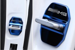 Wholesale Amg Sticker 3d - Stainless steel Car Door lock buckle cover decoration Car styling 3D sticker for Benz GLK GLA C E M class AMG logo