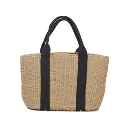 Wholesale tote lunch bags for women - 2017 Casual Straw Bags Summer Vacation Beach Bags Women Khaki Weekend Tote Small Ladies Hand Bag for Lunch Handbags C56