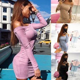 Wholesale Women Long Sleeve Fitted Top - Off Shoulder women casual dresses bodycon slim fit lady clothes autumn new top design s-xl