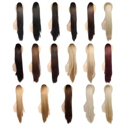 Wholesale Long Auburn Ponytail Extension - Wholesale-24'' Long Straight Ponytail 150g Natural Claw Clip Drawstring Ponytail Fake Hair Extensions Pieces Horse Tress Pony Tail