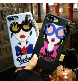 Wholesale Goddess Blue - New Fashion Lip Korean Modern Girl Goddess Tassel Rivets Case 3D Soft TPU Sunglasses Silicone Phone Cover for iphone 7 for iphone 6 plus