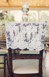 Wholesale Sash Lace Chair Wholesale - Custom Made 2017 Ivory Lace Chair Covers Vintage Romantic Chair Sashes Beautiful Fashion Wedding Decorations 02