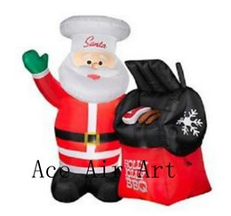 Wholesale Bbq Hat - 18 Feet Light Up Airblown Inflatable Holly Jolly BBQ Santa Claus in Chef Hat