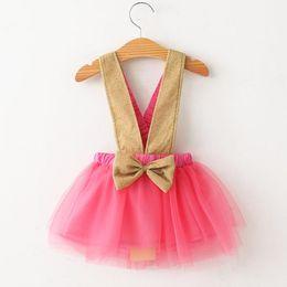 Wholesale Korean Lace Formal Dress - Kids Girls Lace Dresses 2017 Baby Girl Tulle Bow Skirt Princess Party Dress Babies Korean Style Suspender TuTu Dress Children's Clothing