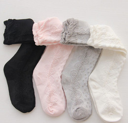 Wholesale Girls Lace Knee Socks - Kids socks new korean children socks girls cotton soft knee socking kids flowers puff lace socks children long sock leg A0362