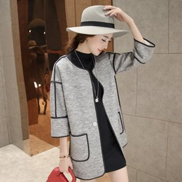 Wholesale three quarter cardigan coat - Wholesale- Korean Style 2016 Spring Three Quarter Sleeve Women Coats All-match Loose Slim Cardigans 3 Colors Plus Size