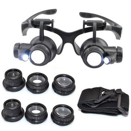 Wholesale Eye Glass Repairs - magnifying LED Lights Eye Glasses Lens Magnifier Loupe Jeweler Watch Repair Tool