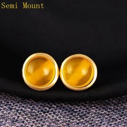 Wholesale 14k Gold Earring Setting Mountings - Fine Silver 925 Sterling Silver 7x7mm or 8x8mm Round Cabochon Semi Mount Stue Earrings Setting Trendy Jewelry