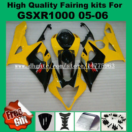2019 gsxr carénage jaune Kit carénage pour SUZUKI 2005 2006 GSXR1000 GSX-R1000 05 06 Kit carénage GSXR 1000 2005 2006 carénages d'injection pré-percés BLACK YELLOW