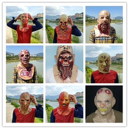 Wholesale Horror Haunted House - Wholesale 2017 New Halloween Blood Skull Mask Latex Scary wigs haunted house zombies horror decoration Rib muscle devil terror Vampire masks